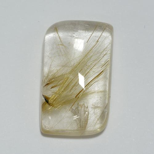 Colorless with Golden Rutile Quartz Gem - 12.4ct Fancy Cabochon (ID: 448928)