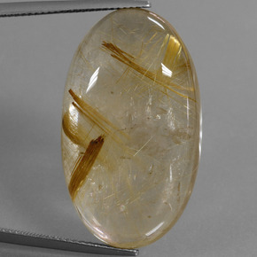 Colorless Golden Rutile Quartz Gem - 41.9ct Oval Cabochon (ID: 449094)