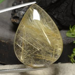 Colorless Golden Rutile Quartz Gem - 48.3ct Pear Cabochon (ID: 486970)
