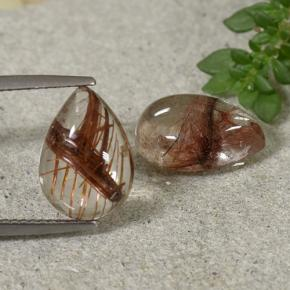 Colorless with Red Rutile Quartz Gem - 4.7ct Pear Cabochon (ID: 493636)