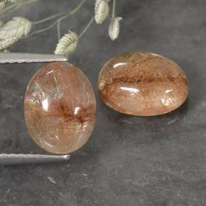Colorless with Red Rutile Quartz Gem - 2.2ct Oval Cabochon (ID: 493985)