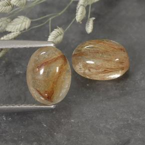 Colorless with Red Rutile Quartz Gem - 1.8ct Oval Cabochon (ID: 493986)