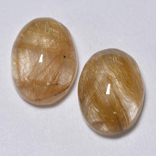 Colorless with Golden Rutile Quartz Gem - 1.6ct Oval Cabochon (ID: 494000)