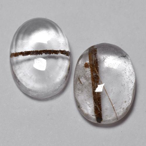 Colorless with Red Rutile Quartz Gem - 1.4ct Oval Cabochon (ID: 494004)