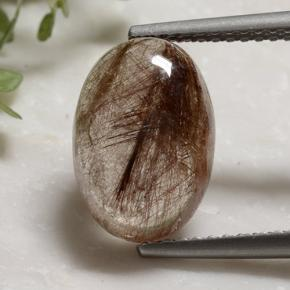 Colorless with Red Rutile Quartz Gem - 3.8ct Oval Cabochon (ID: 494457)