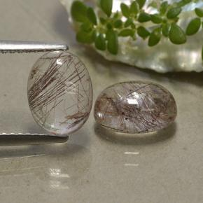 Colorless with Red Rutile Quartz Gem - 1.9ct Oval Cabochon (ID: 494470)
