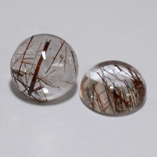 Clear with Brown Rutile Quartz Gem - 2.5ct Round Cabochon (ID: 538762)