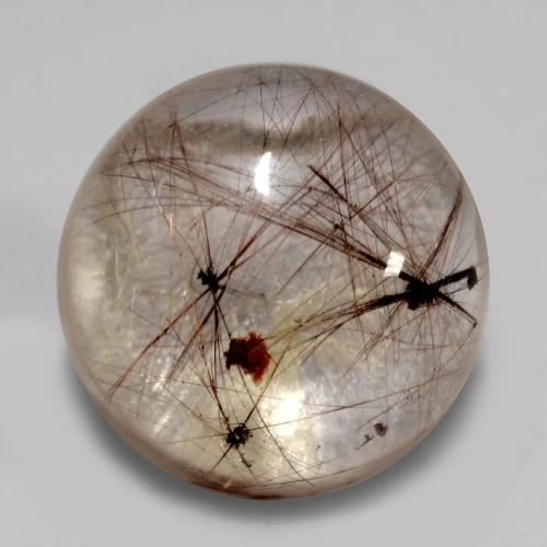 5.5ct Rund Cabochon Clear with Brown Rutilquarz Edelstein (ID: 538964)