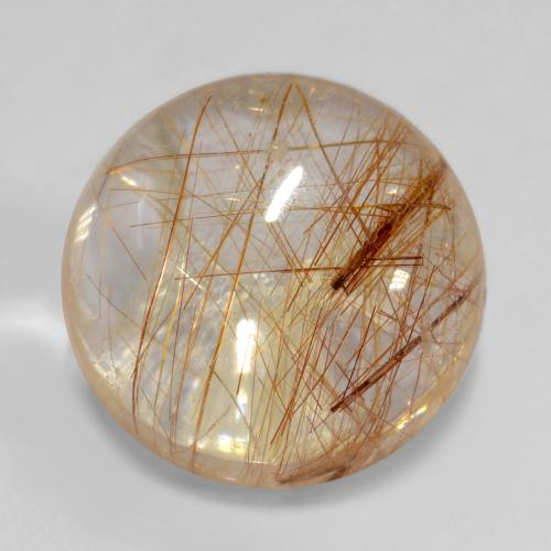 5.1ct Rund Cabochon Very Light Tawny Brown Rutilquarz Edelstein (ID: 538965)
