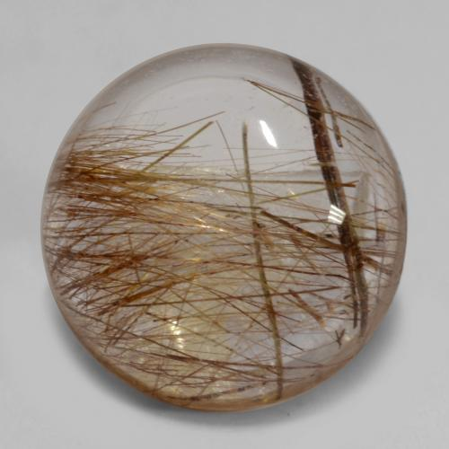 7.1ct Rund Cabochon Clear with Brown Rutilquarz Edelstein (ID: 538969)