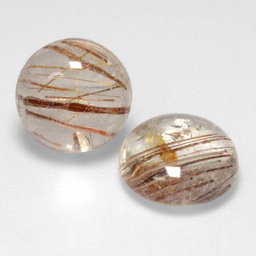 1.3ct Rund Cabochon Very Light Tawny Brown Rutilquarz Edelstein (ID: 544289)