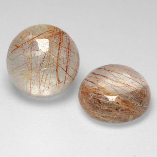 1.5ct Rund Cabochon Very Light Brown Rutilquarz Edelstein (ID: 544295)