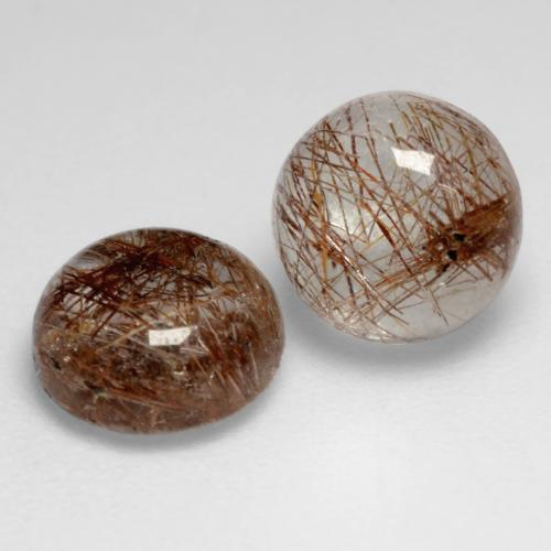 1.4ct Rund Cabochon Clear with Brown Rutilquarz Edelstein (ID: 544299)