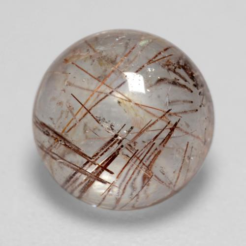 1.6ct Rund Cabochon Clear with Brown Rutilquarz Edelstein (ID: 544453)