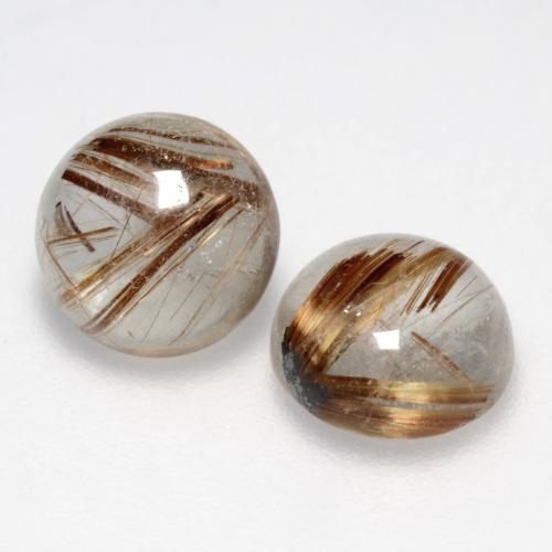 1.4ct Rund Cabochon Clear with Brown Rutilquarz Edelstein (ID: 545041)