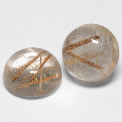 Warm Brown Rutile Quartz Gem - 1.6ct Round Cabochon (ID: 545045)