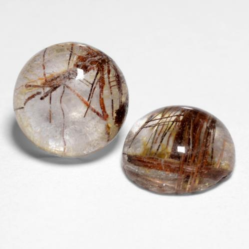 1.5ct Rund Cabochon Clear with Brown Rutilquarz Edelstein (ID: 545308)