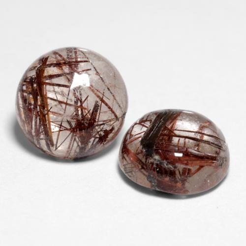 1.5ct Rund Cabochon Clear with Brown Rutilquarz Edelstein (ID: 545313)
