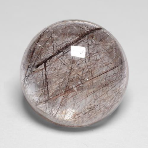 8ct Rund Cabochon Clear with Brown Rutilquarz Edelstein (ID: 547291)