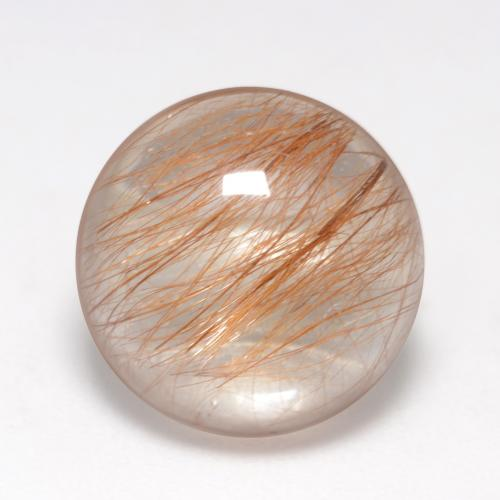 6.3ct Rund Cabochon Very Light Tawny Brown Rutilquarz Edelstein (ID: 547345)