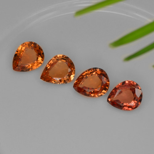Mandarin Orange Sapphire Gem - 0.6ct Pear Facet (ID: 252755)