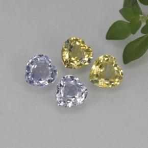 Multicolor Sapphire Gem - 0.3ct Heart Facet (ID: 254923)