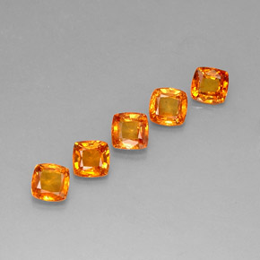 0.7ct Cushion-Cut Reddish Orange Sapphire Gem (ID: 283263)