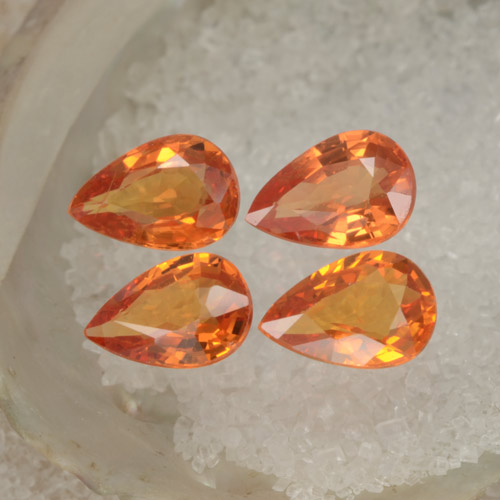 Orange Sapphire Gem - 0.5ct Pear Facet (ID: 287317)