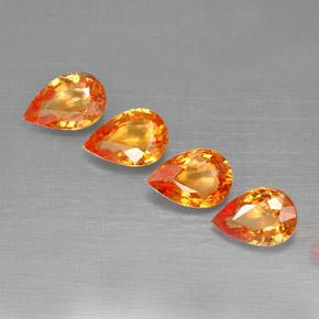 Amber Orange Sapphire Gem - 0.5ct Pear Facet (ID: 287324)