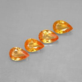 Yellow Orange Sapphire Gem - 0.5ct Pear Facet (ID: 287355)