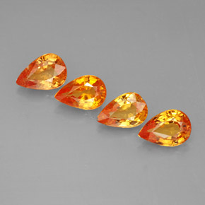 Yellow Orange Sapphire Gem - 0.5ct Pear Facet (ID: 287360)