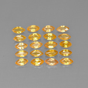 Medium-Light Orange-Gold  Sapphire Gem - 0.2ct Marquise Facet (ID: 291593)