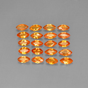 Yellow Orange Sapphire Gem - 0.2ct Marquise Facet (ID: 292813)