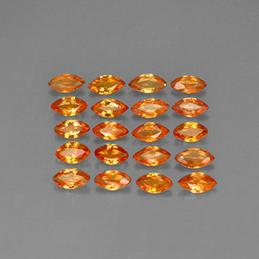 Deep Orange Sapphire Gem - 0.2ct Marquise Facet (ID: 292817)