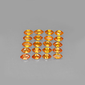 Yellow Orange Sapphire Gem - 0.2ct Marquise Facet (ID: 293191)