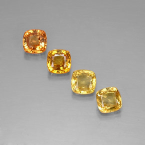 Yellow Orange Sapphire Gem - 0.7ct Cushion-Cut (ID: 318537)