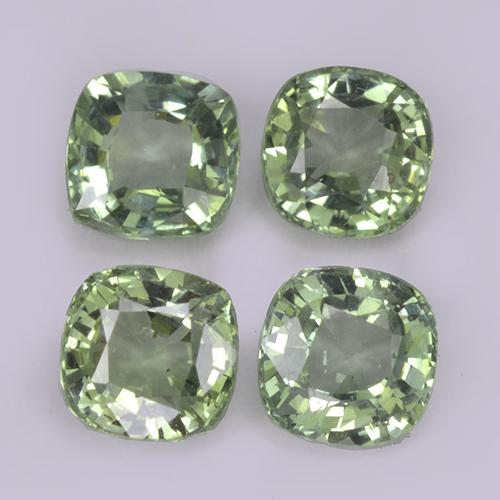 Light Sage Green Sapphire Gem - 0.4ct Cushion-Cut (ID: 318539)