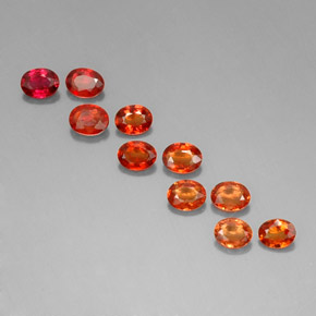 Red Orange Sapphire Gem - 0.2ct Oval Facet (ID: 321816)