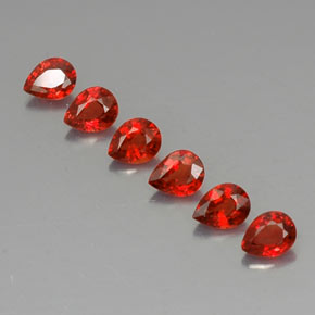 Red Orange Sapphire Gem - 0.3ct Pear Facet (ID: 324787)