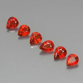 Red Orange Sapphire Gem - 0.3ct Pear Facet (ID: 324788)
