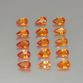 Yellow Orange Sapphire Gem - 0.3ct Pear Facet (ID: 324996)