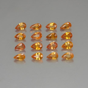 Yellow Orange Sapphire Gem - 0.3ct Pear Facet (ID: 325213)