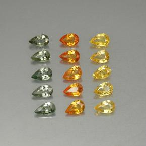 Multicolor Sapphire Gem - 0.3ct Pear Facet (ID: 325282)