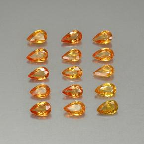 Yellow Orange Sapphire Gem - 0.2ct Pear Facet (ID: 325285)