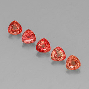 Red Orange Sapphire Gem - 0.4ct Trillion Facet (ID: 330670)