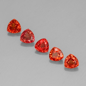 Red Orange Sapphire Gem - 0.4ct Trillion Facet (ID: 330676)