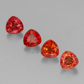 Red Orange Sapphire Gem - 0.4ct Trillion Facet (ID: 330677)