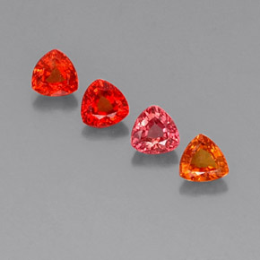 Red Orange Sapphire Gem - 0.4ct Trillion Facet (ID: 330696)