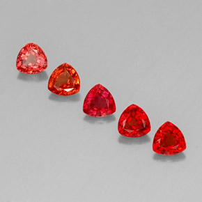 Red Orange Sapphire Gem - 0.4ct Trillion Facet (ID: 330725)