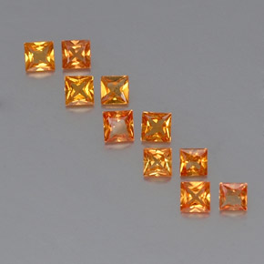 Yellow Orange Sapphire Gem - 0.1ct Princess-Cut (ID: 330830)